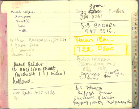Pages from Michel Prigent's address book